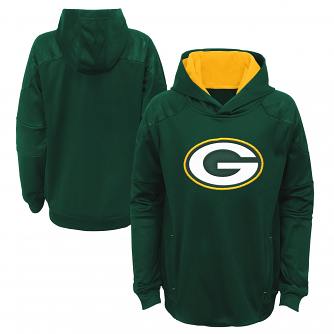 "Green Bay Packers Youth NFL ""Mach"" Pullover Hooded Performance Sweatshirt"