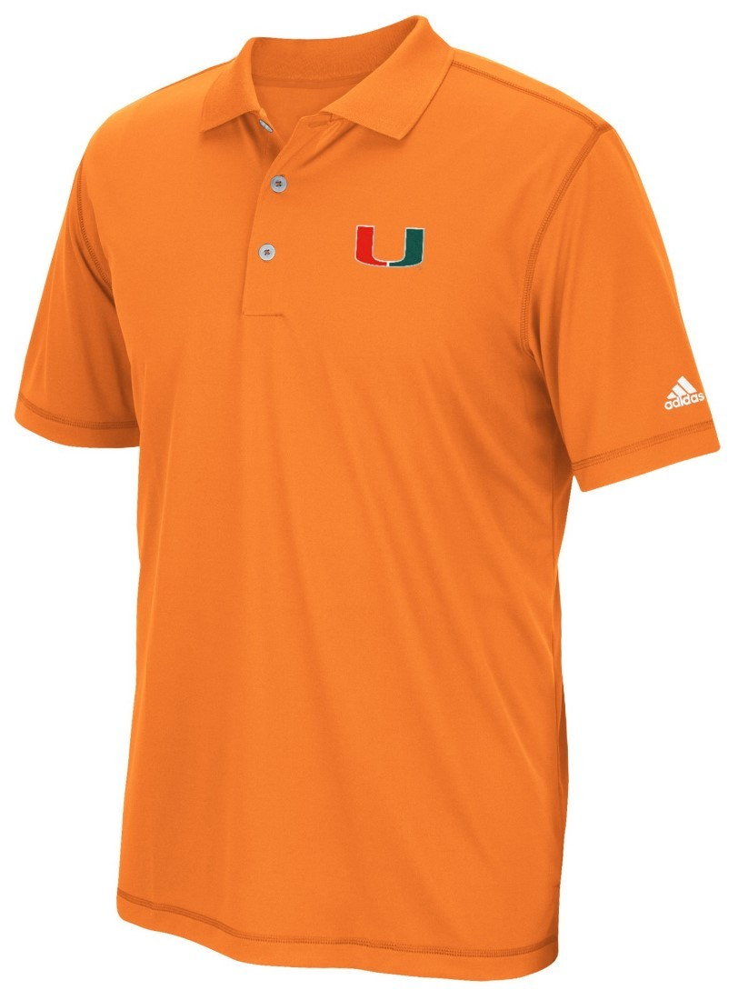 Miami hurricanes adidas ncaa pure motion climalite polo for Embroidered polo shirts miami