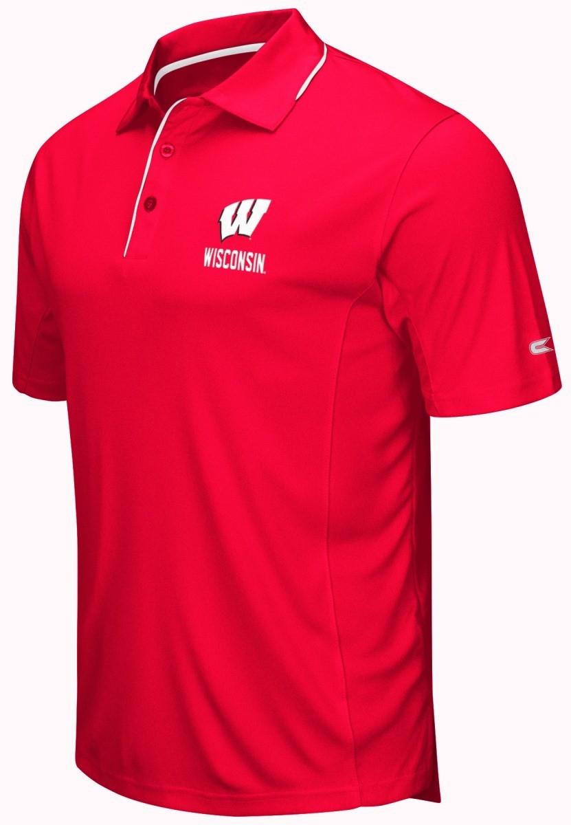 Wisconsin badgers ncaa maestro men 39 s performance polo for Mens wisconsin badger shirts