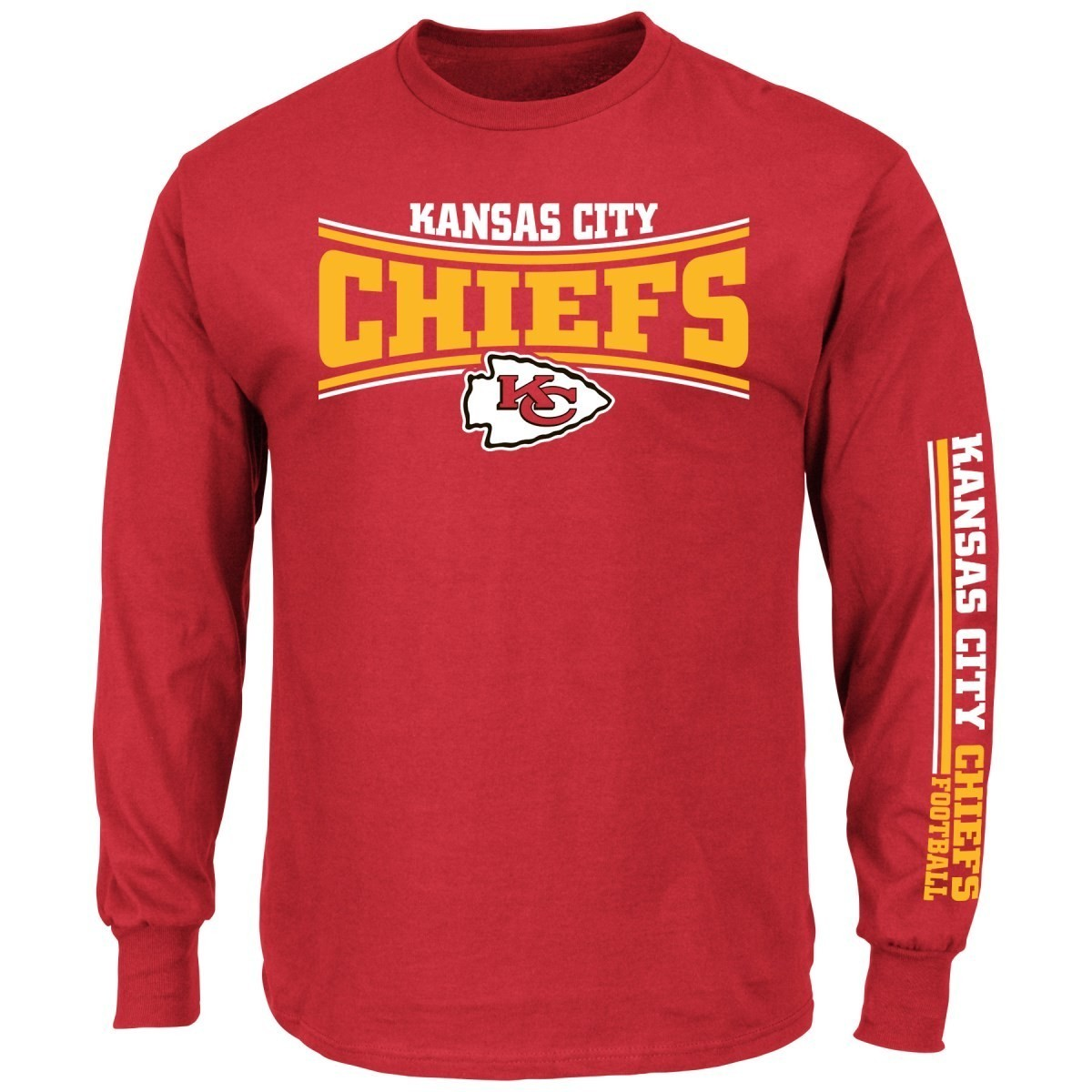 Kansas city chiefs majestic nfl primary receiver long for Kansas city chiefs tee shirts
