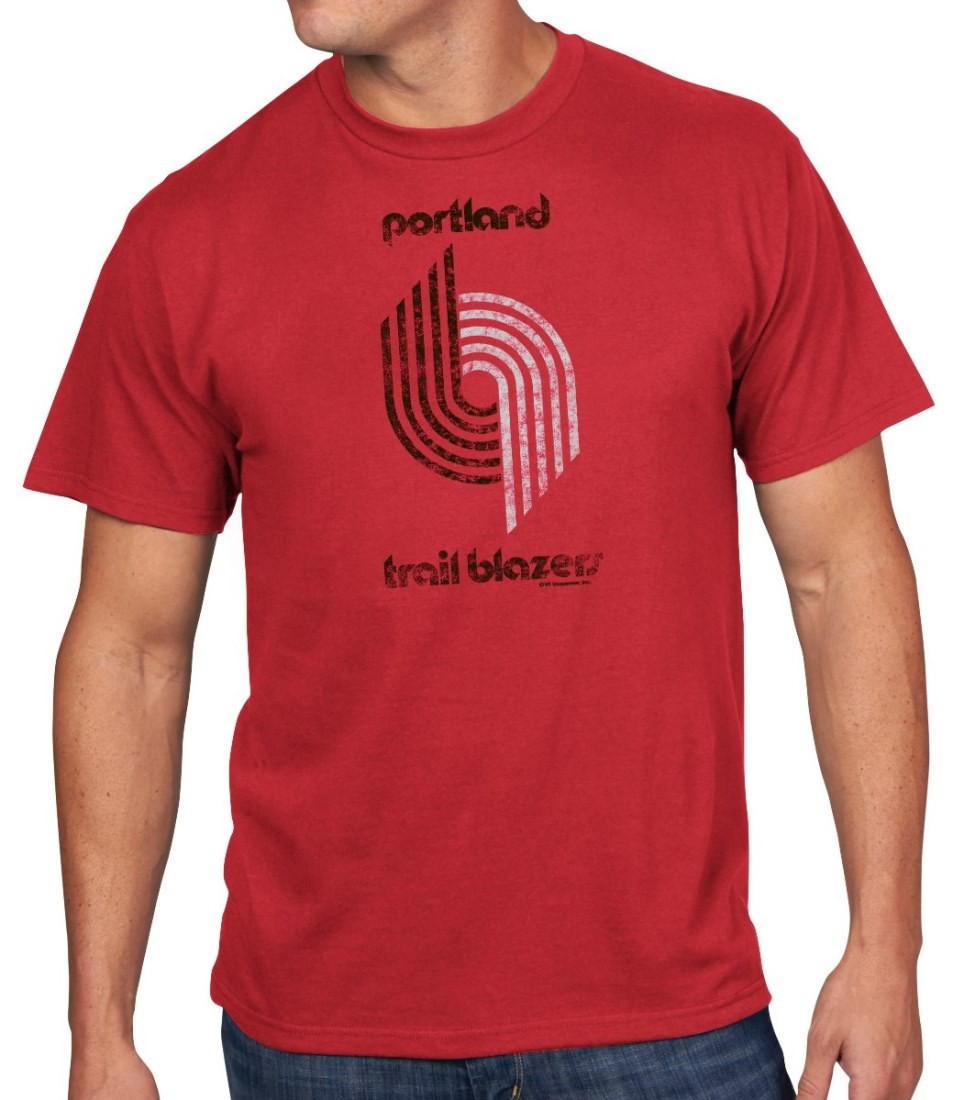 "Portland Trail Blazers T Shirt: Portland Trail Blazers Majestic NBA Throwback ""Post Up"