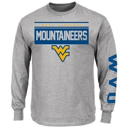 """Majestic West Virginia Mountaineers Majestic """"Breathe Victory"""" Long Sleeve T-Shirt - Gray"""