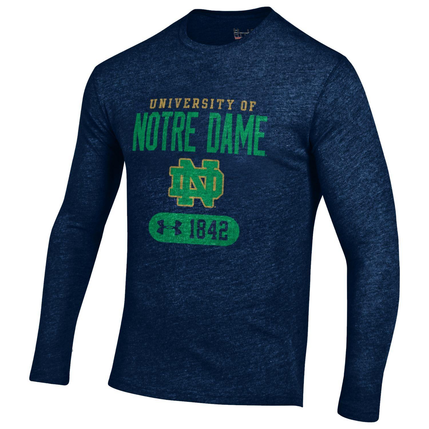 Notre dame fighting irish under armour ncaa long sleeve for Notre dame tee shirts