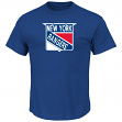 New York Rangers Majestic NHL Vintage Tek Patch Embroidered Premium T-Shirt
