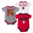 North Carolina State Wolfpack 3 Point Spread Newborn 3 Pack Bodysuit Creeper Set