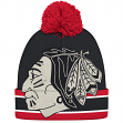 "Chicago Blackhawks CCM NHL ""Split Logo"" Cuffed Knit Hat with Pom"