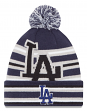 "Los Angeles Dodgers New Era MLB ""Strike Through"" Cuffed Knit Hat with Pom"
