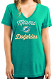 """Miami Dolphins Women's Majestic NFL """"Day Game"""" Burnout V-neck Shirt"""