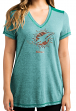 """Miami Dolphins Women's Majestic NFL """"Bright Lights"""" V-neck Fashion Top"""