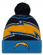 "San Diego Chargers New Era NFL ""Logo Whiz 2"" Cuffed Knit Hat with Pom"