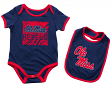 """Mississippi Ole Miss Rebels NCAA Infant """"Look at the Baby"""" Onesie w/Bib Set"""