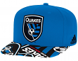 San Jose Earthquakes Adidas MLS Layered Logo Embroidered Snap Back Hat