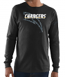 "Los Angeles Chargers Majestic NFL ""Elite Reflective"" Men's L/S Black T-Shirt"