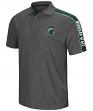 """Michigan State Spartans NCAA """"Southpaw"""" Men's Performance Polo Shirt - Charcoal"""