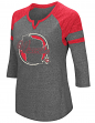 "Wisconsin Badgers NCAA Women's ""Par"" 3/4 Sleeve Tri-Blend Notch Neck Shirt"