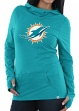 """Miami Dolphins Women's Majestic NFL """"Great Play"""" Cowl Neck Hooded Sweatshirt"""