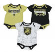 """Army Black Knights NCAA """"Playmaker"""" Infant 3 Pack Bodysuit Creeper Set"""