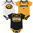 "Iowa Hawkeyes NCAA ""Playmaker"" Infant 3 Pack Bodysuit Creeper Set"
