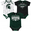 """Michigan State Spartans NCAA """"Playmaker"""" Infant 3 Pack Bodysuit Creeper Set"""