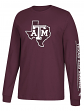 "Texas A&M Aggies Adidas NCAA ""Left Text"" Men's Long Sleeve T-shirt"