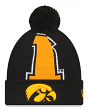 "Iowa Hawkeyes New Era NCAA ""Logo Whiz 3"" Cuffed Knit Hat with Pom"