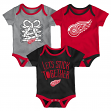 """Detroit Red Wings NHL """"Five on Three"""" Infant 3 Pack Bodysuit Creeper Set"""