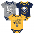"Buffalo Sabres NHL ""Five on Three"" Infant 3 Pack Bodysuit Creeper Set"