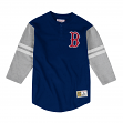 "Boston Red Sox Mitchell & Ness MLB Men's ""Team Logo"" 3/4 Sleeve Henley Shirt"