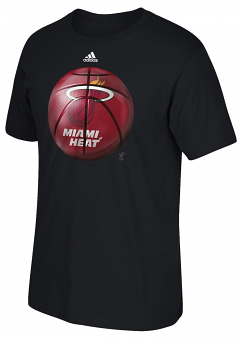 "Miami Heat Adidas NBA ""Logo Ball"" Premium Print S/S Men's T-Shirt"