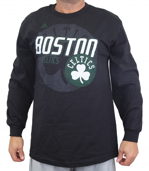 "Boston Celtics Adidas NBA ""Distressed Back Logo"" Men's Long Sleeve Black T-Shirt"