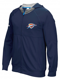 "Oklahoma City Thunder Adidas 2016 NBA On-Court ""Pre-Game"" Full Zip Hooded Jacket"