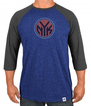 "New York Knicks Majestic NBA ""Excellent Attitude"" Men's 3/4 Sleeve T-Shirt"