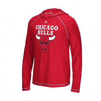 "Chicago Bulls Adidas NBA ""Primary"" Men's Climalite Hooded L/S Shirt"