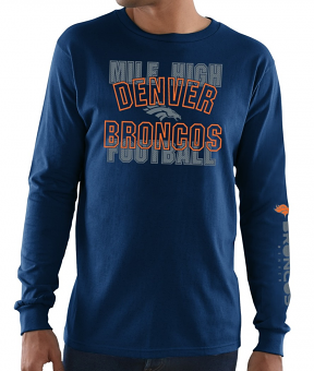 Denver Broncos Majestic NFL Primary Receiver 3 Men's Long Sleeve T-Shirt