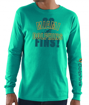 Miami Dolphins Majestic NFL Primary Receiver 3 Men's Long Sleeve T-Shirt