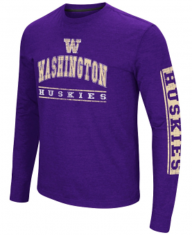 "Washington Huskies NCAA ""Sky Box"" Long Sleeve Dual Blend Men's T-Shirt"