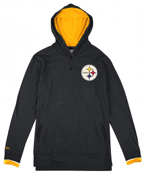 """Pittsburgh Steelers Mitchell & Ness NFL """"Seal The Win"""" L/S Hooded Men's Shirt"""