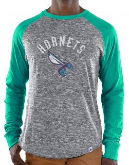 "Charlotte Hornets Majestic NBA ""Exposure"" Men's Long Sleeve Gray Slub Shirt"