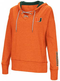 "Miami Hurricanes Women's NCAA ""Rhymes"" Lace Up Pullover Hooded Sweatshirt"
