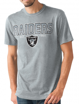 "Oakland Raiders NFL G-III ""Playoff"" Men's Dual Blend S/S T-shirt - Graphite"