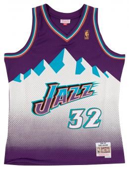 Karl Malone Utah Jazz Mountains Mitchell & Ness NBA Swingman HWC Jersey - Purple