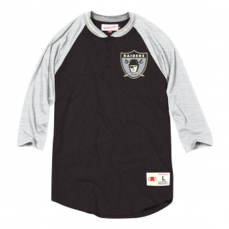 "Oakland Raiders Mitchell & Ness NFL Men's ""4th Down"" 3/4 Sleeve Henley Shirt"