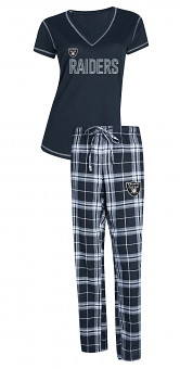 "Oakland Raiders NFL ""Super Duo"" Women's T-shirt & Flannel Pants Sleep Set"