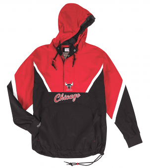 "Chicago Bulls Mitchell & Ness NBA Men's ""Anorak"" 1/2 Zip Pullover Jacket"