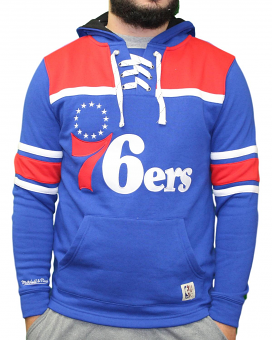 "Philadelphia 76ers Mitchell & Ness NBA ""Skate Lace"" Pullover Hooded Sweatshirt"