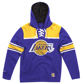 "Los Angeles Lakers Mitchell & Ness NBA ""Skate Lace"" Pullover Hooded Sweatshirt"
