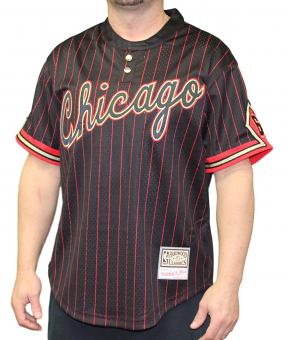 "Chicago Bulls Mitchell & Ness Men's ""6 Rings"" Black Pinstriped Baseball Jersey"