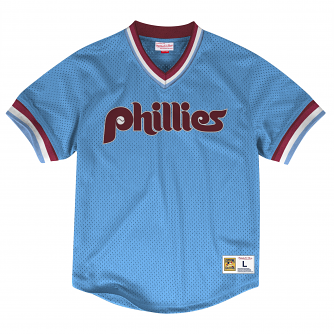 Philadelphia Phillies Mitchell & Ness MLB Men's Dinger Mesh Jersey Shirt - Blue