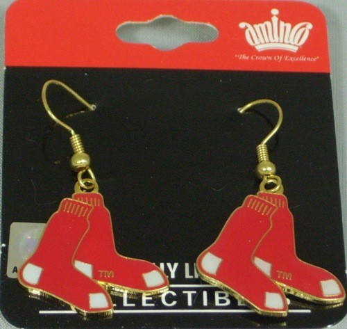 MLB Dangling Earrings - Boston Red Sox Logo