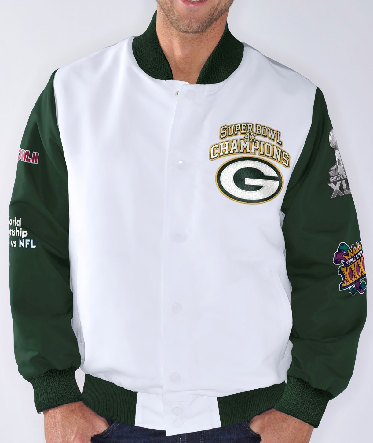 """Green Bay Packers NFL """"Trophy"""" Super Bowl Commemorative Sublimated Jacket"""